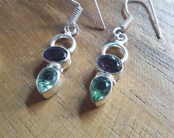 gemstone earrings garnet  earrings  sterling silver