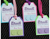 Girl / Building Brick / Friends Birthday party decor. Favor Tags by Charming Touch Parties. Set of 18 tags, fully assembled.