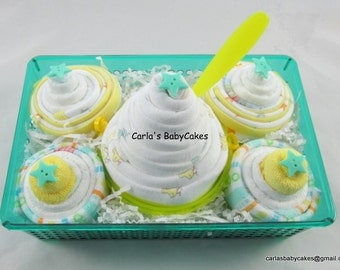 Diaper Cupcake Gift Set | New Baby Gift Basket | Baby Shower Gift | New Mom