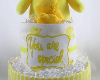 Duck diaper cake   Neutral diaper cake   Yellow diaper cake   Baby shower decoration   Baby shower gift   Baby diaper cake   New mom gift