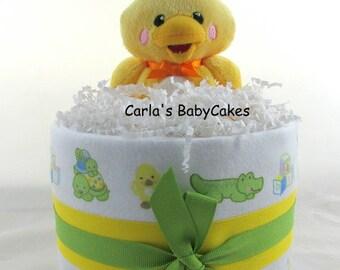 Neutral  Diaper Cake   Mini diaper cake   Baby shower decoration   Baby shower gift   Baby diaper cake   Duck diaper cake   New mom gift