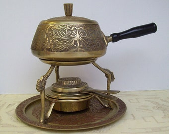 Vintage 1960's Brass FONDUE POT with Burner and Tray – Intricate Floral Design – Made in Korea -