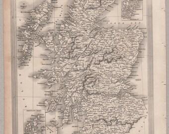 1843 Vintage Map of Scotland #00158