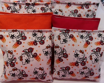 8 ACA Regulation Cornhole Bags -  Hello Kitty Flaming Bike on Red and Orange Backs
