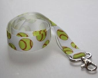 Softball Lanyard, Ribbon Lanyard, Lanyard, ID Badge and Key Holder, Fashion Lanyard, Sports Lanyard, Coach Lanyard