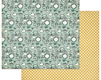 2 Sheets of Photo Play FRESH PICKED 12x12 Scrapbook Paper - From Our Kitchen FP2261