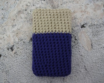Purple Gold Cellphone Cozy - Bohemian Crochet Phone Cozy - 5 to 6 inch Phone Protector