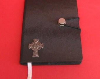 Celtic Cross Pewter Motif on A6 Black Journal Notebook Christmas Gift