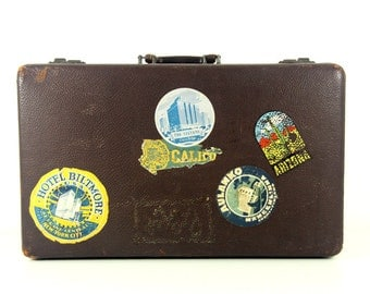 Vintage Suitcase with Travel Stickers