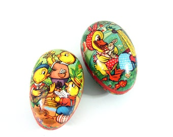 "Two Paper Mache Easter Eggs - 4"" long"