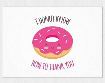 thank you card donut kawaii pdf diy printable a6 cute thank you card i ...