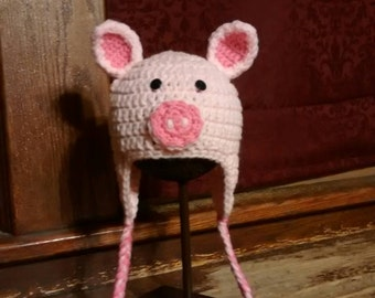 Children's Pig hat with earflaps