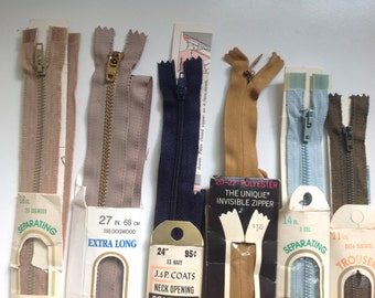 Vintage zippers, assorted sizes