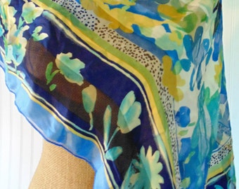 Vintage Scarf Beautiful Blue Floral Watercolor Silk Summer Scarf