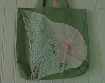 Vintage Upcycled Tote Bag Vintage Purse Shabby Chic Bag Upcycled Purses Cottage Chic Bags