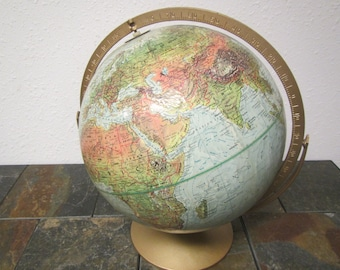 vintage REPLOGLE Land and Sea Globe , 12 inch diameter World Globe , planet earth, geographical