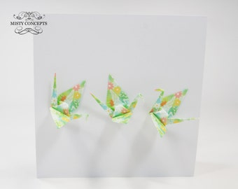 Handmade Interactive Green & Flowers Origami Paper Cranes Blank Greeting Card