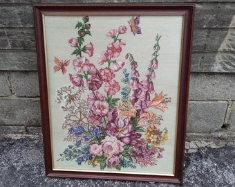 Massive Floral Tapestry Picture in Glazed Frame