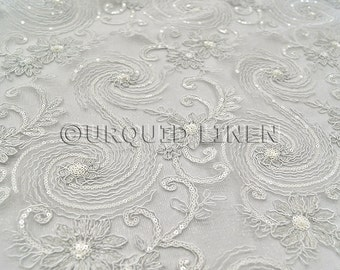 Jasmine Lace Fabric in White - Bridal Lace Fabric w/ a Beautiful Sequins Embroidery Throughout - Perfect For Weddings and Special Events