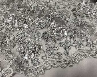 Valentina Lace Fabric in Silver - Elegant Bridal Lace Fabric With Sequins Embroidery Throughout - Perfect For Weddings