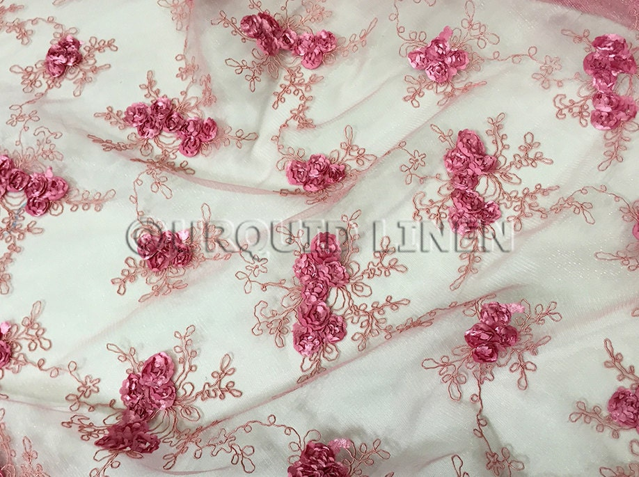 Baby rose embroidery fabric in dusty beautiful lace