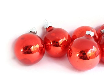 CLEARANCE  6 Bright Red Shiny Brites Christmas Ornaments