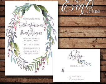 PRINTED Wedding Invitation - Purple Laurel 130