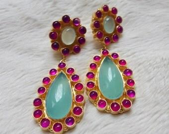 Double Drop Gemstone Bubble Earrings