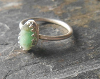 Raw emerald gemstone  sterling silver ring, minimalist emerald ring, May birthstone ring