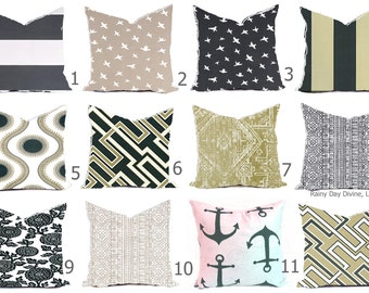 Outdoor Pillows or Indoor Custom Cover size include 16x16, 18x18 - Cavern Grey CharcoalTan Sand Taupe Khaki Modern Geometric Native Tribal