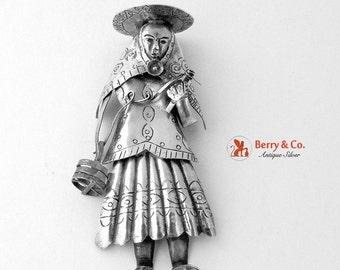 SaLe! sALe! Traditional Female Figure Brooch Sterling Silver