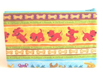 ON SALE* Clifford The Big Red Dog Fabric Pencil Case // Clifford Birthday // Clifford Pencil Pouch // Clifford Zipper Pouch