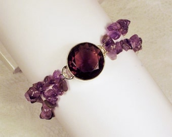 "Cynthia Lynn ""DEEP PURPLE"" Sterling Silver Purple Amethyst February Birthstone Beaded Bracelet"