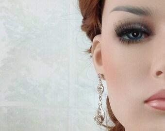 Bridal earrings - Silver long dangle crystal earrings