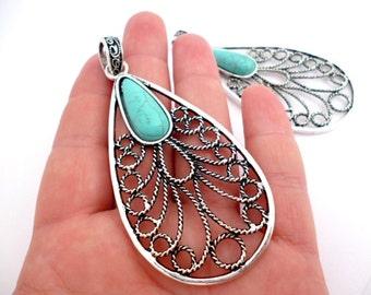 Large Silver Tone Drop Charm Pendant_PA001402156_Large Filigree Pendant Blue Stone_Drop of 70x38 mm_pack 1 pcs