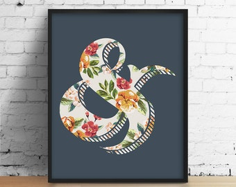 Ampersand Print, Grammar Print, Typography Poster, Blue Ampersand, Floral Poster, Flower Print, Blue Flower, Bedroom Poster, Floral Wall Art