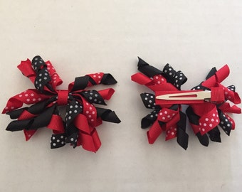 """Set of Red and Black with Polka Dots Korker Hair Clip 3"""""""