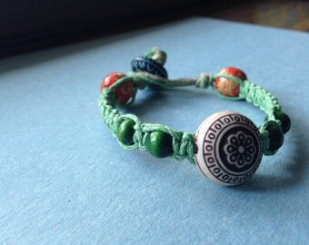 Hemp Bracelet, Green Hemp Bracelet, Tribal bracelet