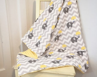 Grey Elephants Blanket Bumpers Sheet & Pillowcase - Quilt, Nursery Decor - Chevrons Umbrellas Yellow Gray White Cot Bedding