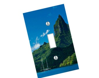 French Polynesia Mountian light switch plate elegant travel wall art home decor gift made in the USA