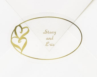 Personalized Envelope Seal Stickers With Metallic Gold Hearts, Oval Accent With Personalized Names | 25 Clear Stickers Per Sheet