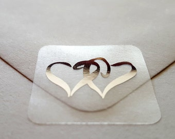 Silver Hearts Foil Metallic Envelope Seals | Wedding Invitation Seals, Clear Stickers, 25 Stickers Per Sheet | 8.25 Per Sheet