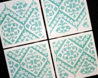 Teal Coasters, Tile Coaster, Coaster, Coasters, Tile Coasters, Drink Coasters, Table Coasters, Ceramic Coaster, Teal Decor, Coaster Set of 4