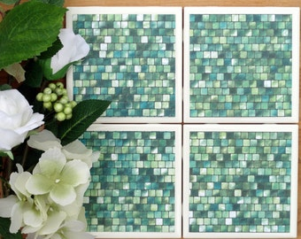 Tile Coasters - Ceramic Coasters - Ceramic Tile Coasters - Coaster Set - Table Coasters - Green Coaster - Coaster - Tile Coaster