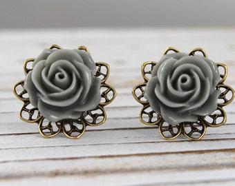 Stone Gray Rose - vintage style antique brass rose post earrings - Secret Garden Collection