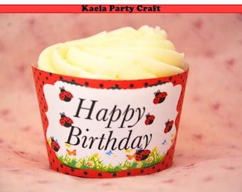 Ladybug cupcake wrappers. Ladybug birthday. Ladybug baby shower. Ladybug birthday party. Ladybug themed party. Ladybug banner