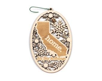Engraved California Wood Christmas Ornament