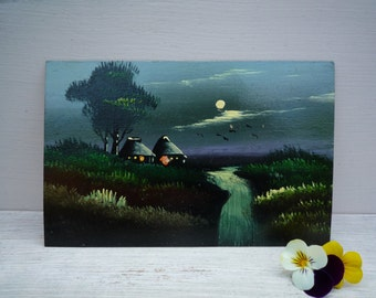 Japanese Landscape Oil Painting, Antique Postcard of Japan, Night painting with Moon, Hand Painted Postcard, Artist Card, Miniature Painting
