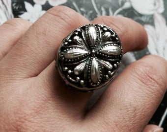 Unique Artisan Flower High Stance Sterling Ring