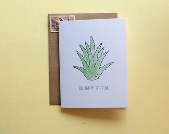 Funny Valentines Card // Funny Greeting card // watercolour card // You had me at aloe